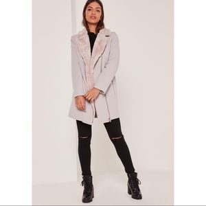 Misguided faux fur lined faux wool longline coat